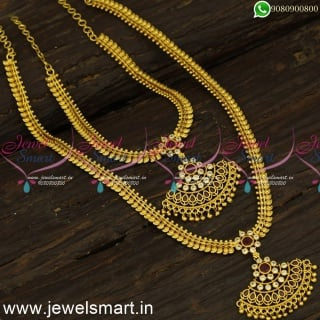 Ideas to Buy Low Price Beautiful One Gram Gold Long Necklace Sets Online NL24279