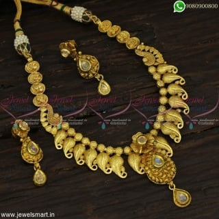 Immaculate One Gram Gold Jewellery Latest Premium Antique Necklace Set Online NL22848