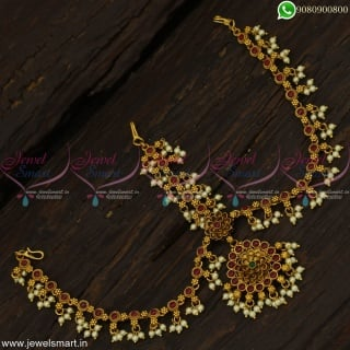 Imperative Matha Patti for Bride Wedding Jewellery Pearl Maang Tikka Online T22858