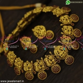 Impressive Temple Long Gold Necklace Designs Silver Inspired Jewellery NL23885