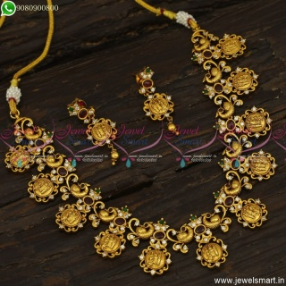 Incredible Antique Gold Jewellery Designs Ram Parivar Handcrafted Necklace Set NL23621