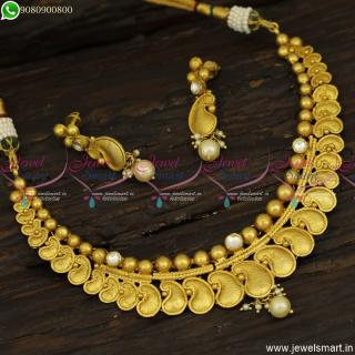 Subtle Finish Jadau Kundan One Gram Gold Necklace Set Fabulous Imitation JewelleryNL23808