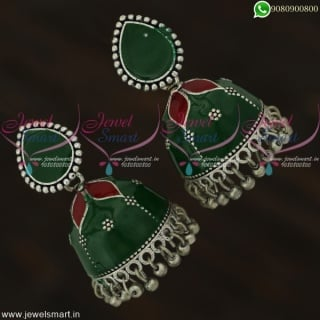 Jaipur Jhumkas Meenakari Fashion Earrings Oxidised Jewellery Silver Plated J22121