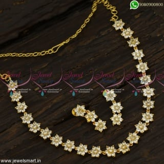 Jaipuri Style 7 Stone Gold Necklace Designs Classic Jewellery Collections OnlineNL23383