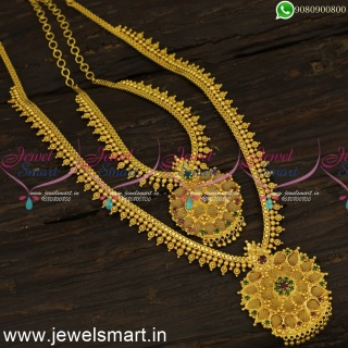 Jelebi Beads Long Gold Necklace Ideas For Wedding Simple Arumbu Malai With Stones NL24118