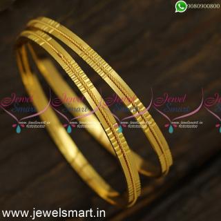 Jelebi Line Light Weight Gold Bangles Design Guaranteed From CatalogueB24555