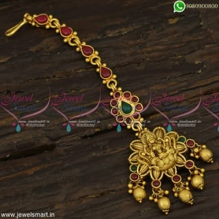 Jewellery For Wedding Latest Bridal Maang Tikka Temple Layer Pendant Golden Beads T23300