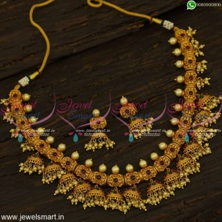 Jhumka Necklace Designs Guttapusalu Pearl Jewellery New Collections Online NL21327