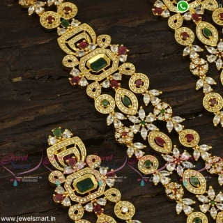 Spectacular Layered Long Necklace Gold Designs Latest Bridal Jewellery NL23352