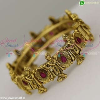 Kada Bangles Lord Krishna Design Temple Jewellery Antique Bracelets