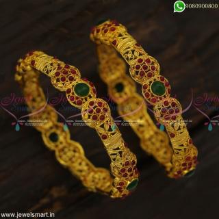 Kal Valayal Floral ModelsAntique Gold Bangles Design Latest Spinel Stone