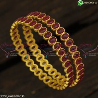Kal Valayal Models Latest Antique Gold Bangles Design Kemp StoneB22896