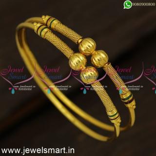 Kangan Model Beads Kappu Simple One Gram Gold Bangles Shop Online B24330