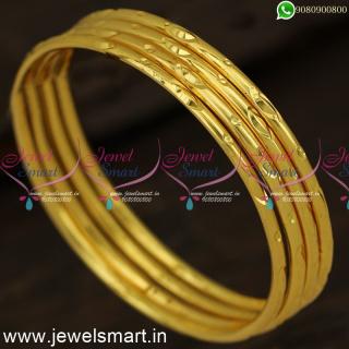 Kappu Design One Gram Gold Plated Bangles Mild Self Cutting Kangan Collections B24333