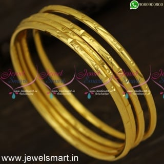 Kappu Valayal New Models Smooth One Gram Gold Plated Bangles Daily Wear B24335