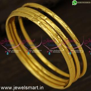 Kappu Valayal New Models Smooth One Gram Gold Plated Bangles Daily Wear B24335