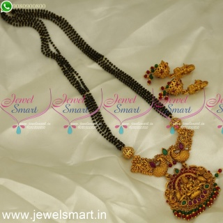 Karumani Malai 4 Line Double Naka Peacock Temple Pendant Mangalsutra with Jhumkas online MS24214