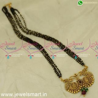 Kasu Nalla Pusalu 4 Line Short Mangalsutra Traditional Indian JewelleryMS24466