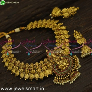 Kasumalai Laxmi Coin Gold Necklace Designs For Wedding Antique Temple Jewellery