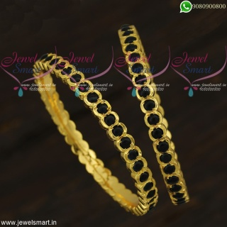 Kemp Bangles Online South Indian Getti Valayal Sapphire Blue StonesB21924