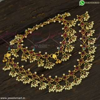 Kemp Stones Anklets For Bride Payal For Marriage GuttaPusalu 2 In One Jewellery Online A22431