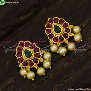 Kemp Stones Ear Studs Designs With Pearls Gold Plated Jewellery Online ER23569