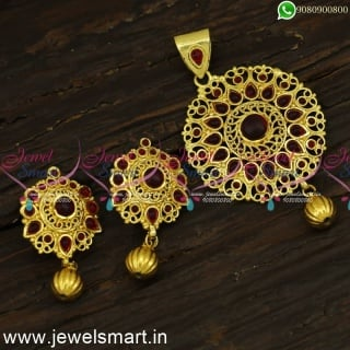 Kemp Stones Traditional Light Weight Gold Pendant Set Designs Online PS24323