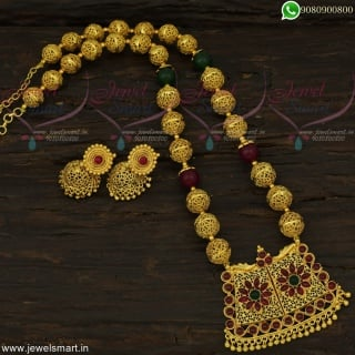Kemp Stones Necklace Jewellery With Copper Handmade Beads and Jhumka Earrings NL22430