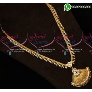 Kerala Style Arumbu Long Gold Necklace South Indian Haram Traditional Jewelry