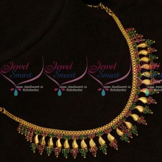 Kerala Style Fashion Jewellery Arumbu Necklace Design Gold Plated NL15696A