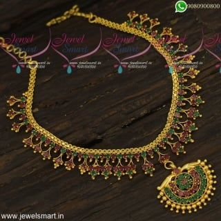 Kerala Style Stone Arumbu Gold Necklace Designs Traditional Jewellery Artificial NL23880