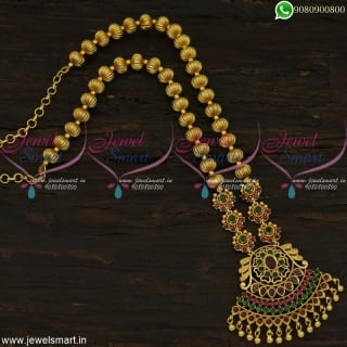 Magnificent Kharbuja Beads Gold Necklace Design Light Weight Fashion Jewellery