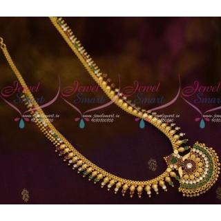 Kharbuja Beads Long Gold Necklace Kerala Style Arumbu Haram OnlineNL11408A