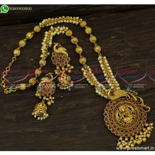 Kharbuja Beads and Pearls Designer Temple Jewellery Latest Necklace Set Online NL23790
