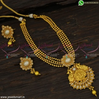 Kharbuja Beads Temple Jewellery Set With Pearls Latest Low Price Necklace Online