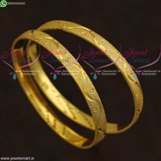Kids Jewellery Baby Bangles Gold Plated 2 Pieces Set Smooth Finish B21648