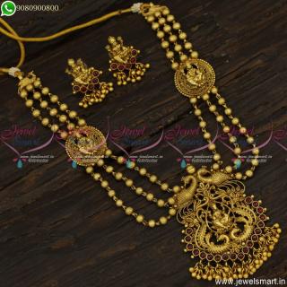 Kids Long Necklace Temple Jewellery Mugappu Design Beaded CollectionsNL23453