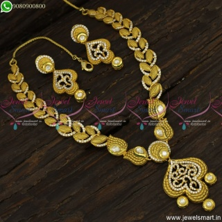 Contemporary Kundan Jewellery Latest Matte Look Necklace Set Online NL23763