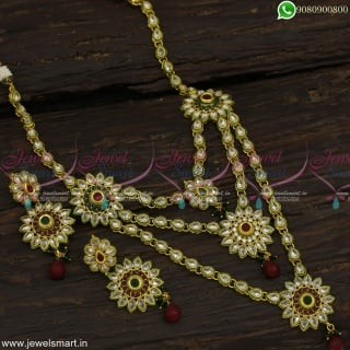 Kundan Style Layered Long Necklace 3 Line Grand Dazzling AD Stones Low Prices NL23051