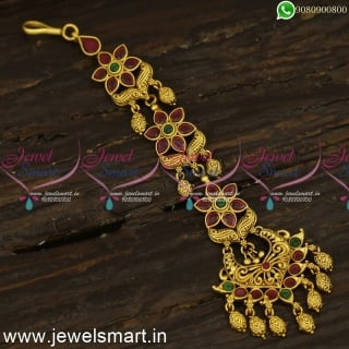 Latest Antique Gold Maang Tikka Designs 2021 Launch Ruby Emerald Jewellery T24304