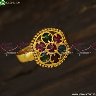 Latest Finger Rings For Girls Kemp Stones Studded Antique Jewellery F23818