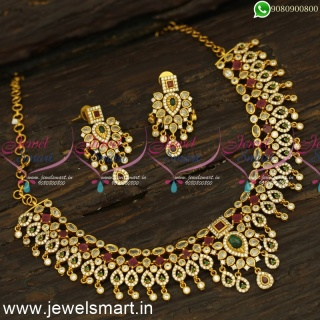 Laudable CZ Stone Gold Necklace Designs Matte Look Catalogue Inspired Designs Online