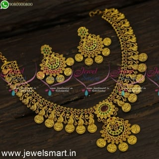Layer Kasumalai Peacock and Lakshmi God Engraved Antique Gold Necklace Designs NL24201
