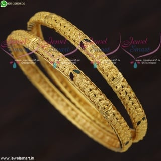 Leaf Design Gold Plated Bangles For Daily Wear South Indian Imitation Jewellery B21660