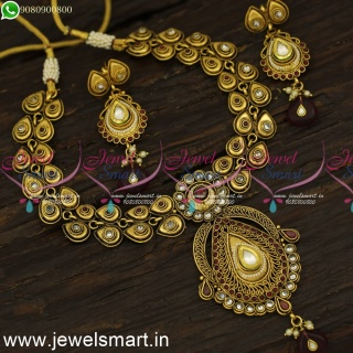 Light Purple Low Price Antique Gold Necklace Set Made from Copper MetalNL24083