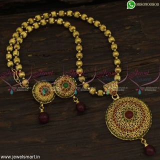 Light Weight Kharbuja Beads Dollar Chain Low Cost Imitation Jewellery Online
