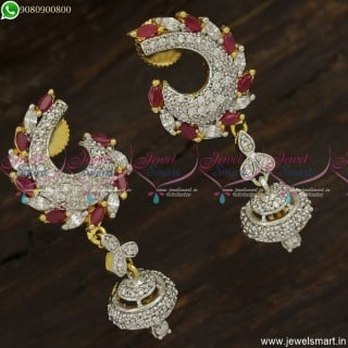 Light Weight Diamond Earrings Design Ruby White Dazzling Imitation Jewellery ER23755