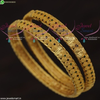 Light Weight Enamel Dotted Design Bangles Gold Plated South Indian Jewelry B21657
