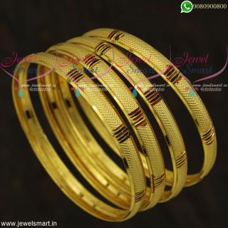 Light Weight Gold Bangles Design Enamel Finish 4 Pieces Set Imitation Jewellery Online B21815