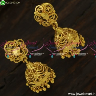 Light Weight Gold Jhumka Earrings Design Screwback Artificial Jewellery